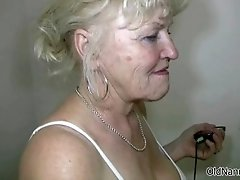 Nasty blonde mature slut gets horny showing off her tit