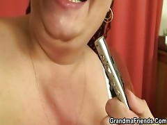 Plump Mature Bitch Takes Two Young Cocks