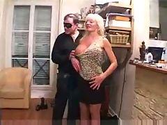 French Busty Blonde Mature Gangbang