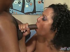 Horny black plumper Bettie Black drains a black cock