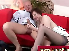 Mature lady gives a blowjob and gets spanked