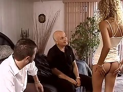 Guys watch two dudes fuck and facialize sexy blonde in bed