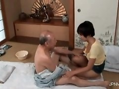 Nasty old dude is ready to enjoy in some sexy massage b