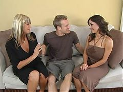 Chubby brunette mom outdoors by young guy